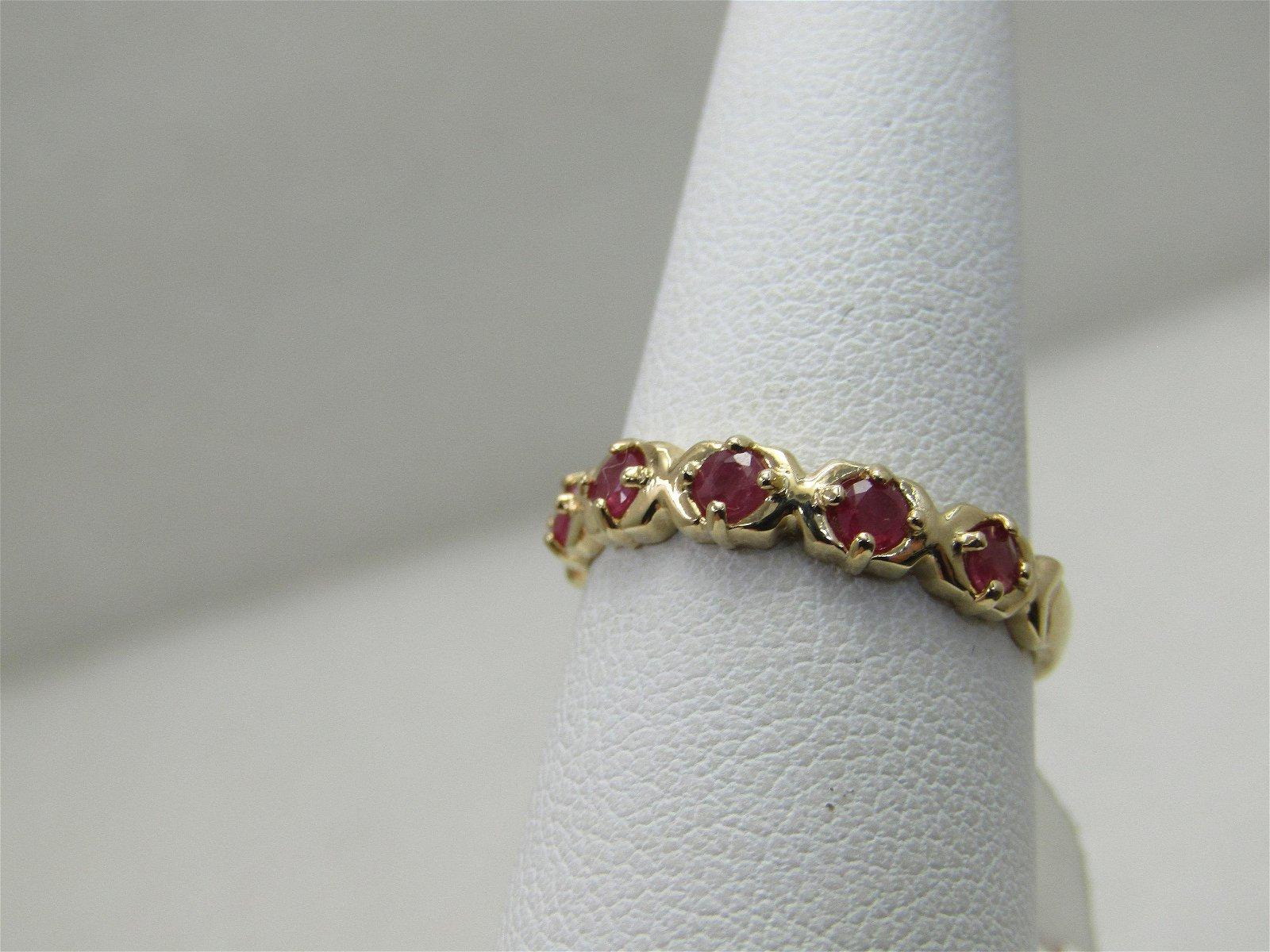 Vintage 10kt Ruby Band/Ring, XO Design, Size 7
