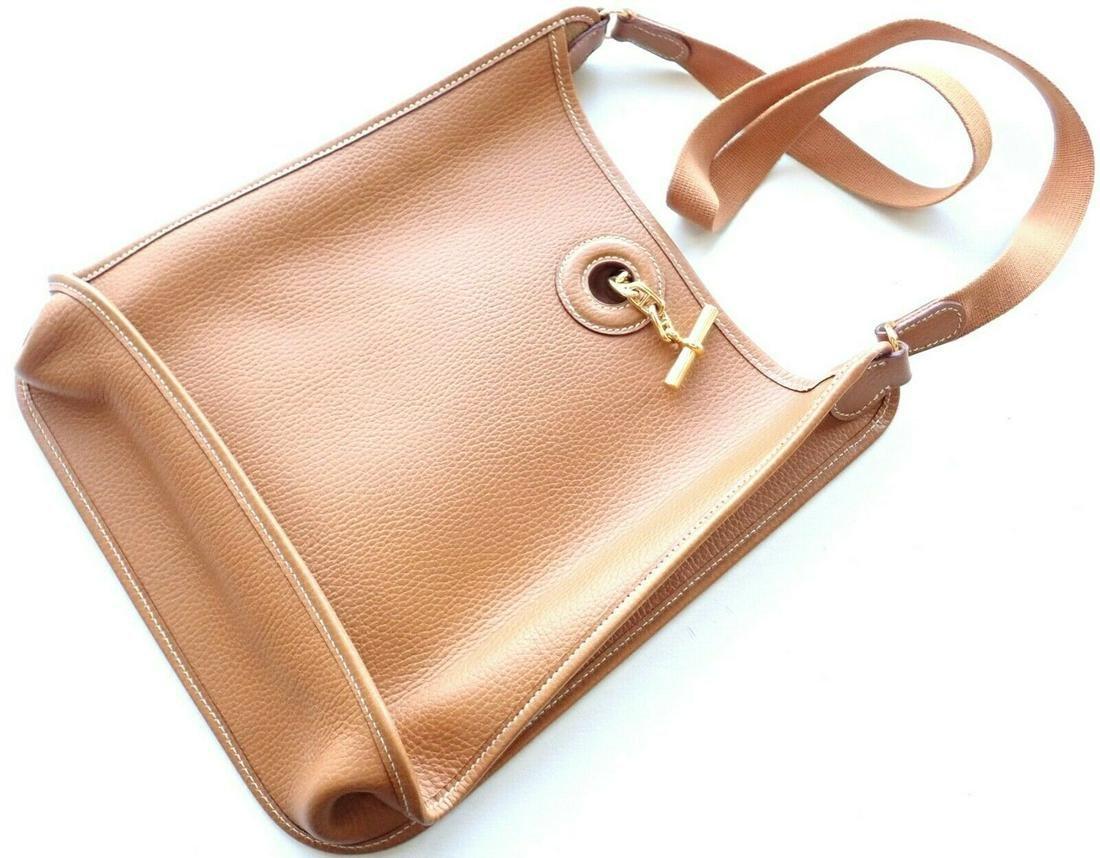 Authentic Hermes Natural Tan Clemence Vespa PM Handbag