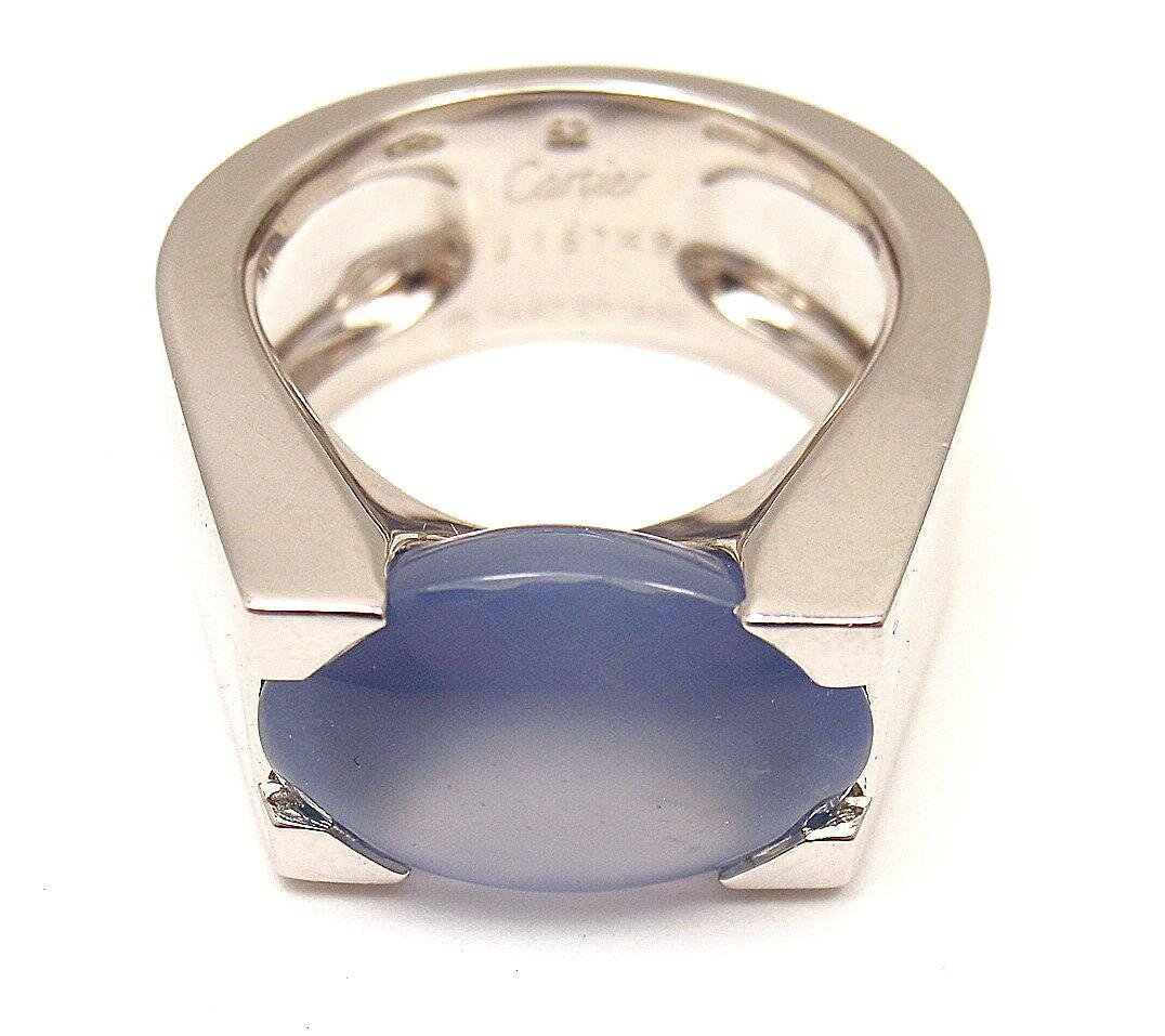 AUTHENTIC CARTIER 18K WHITE GOLD LARGE CHALCEDONY RING,