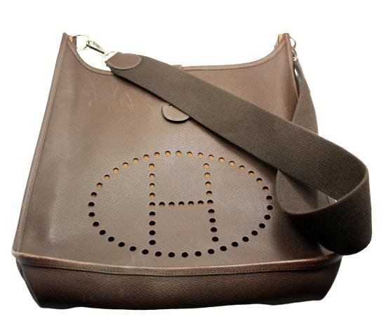 Authentic! Hermes Evelyne Chocolate Brown Epsom Leather