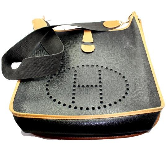 Authentic! Hermes Evelyne Black + Brown Trim Leather GM