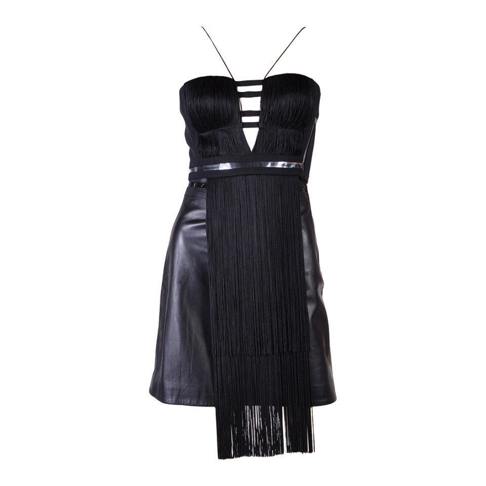 New Versace Black Silk Fringe Top and Leather Skirt