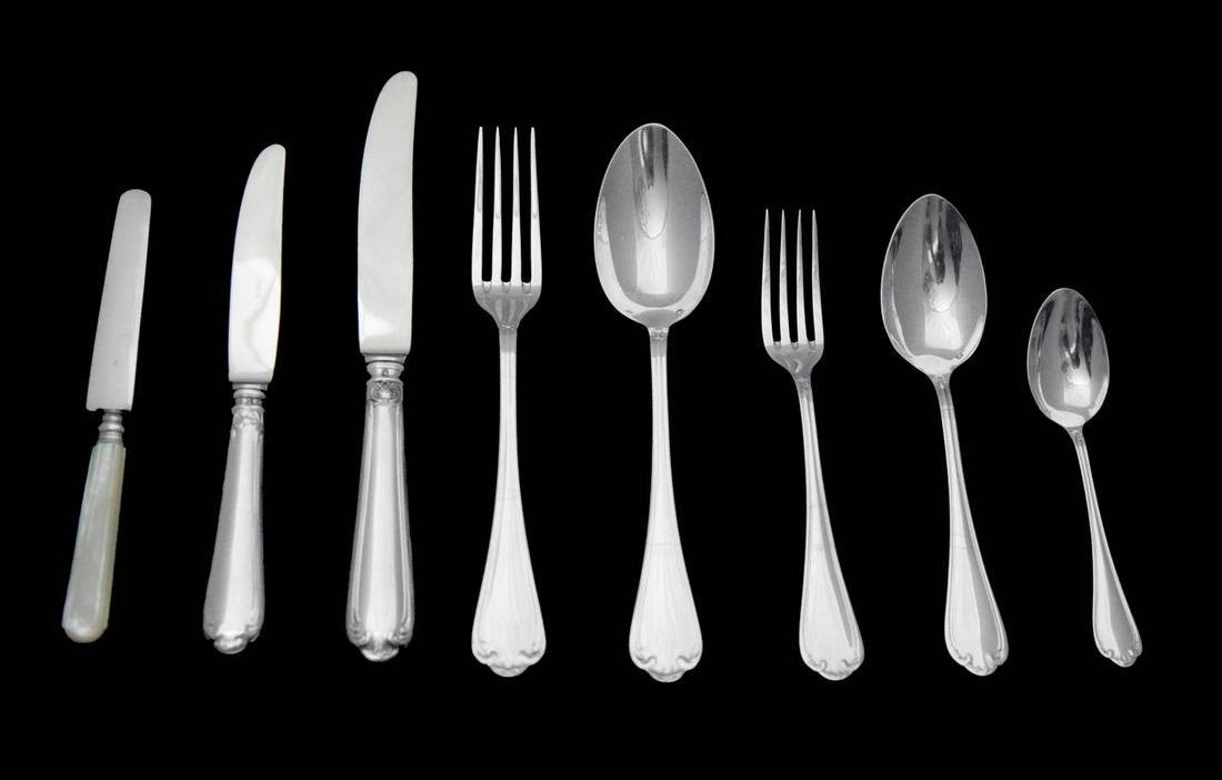 FRENCH ANTIQUE 950 STERING SILVER LOUIS XVI FLATWARE