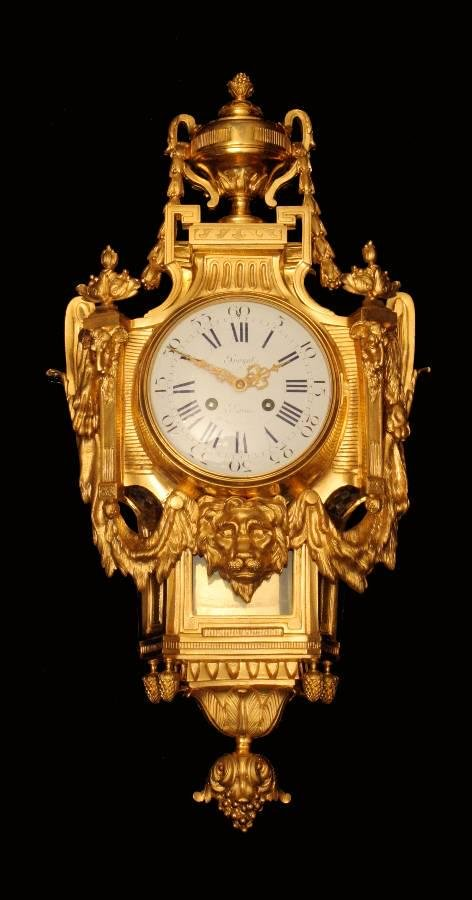 FRENCH GOLD PLATED BRONZE PREYAT WALL CLOCK - MUSEUM