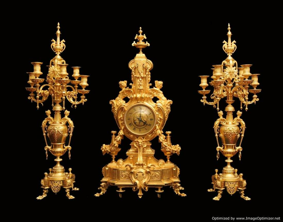 BARBEDIENNE STYLE - FRENCH GOLD PLATED BRONZE LOUIS XVI