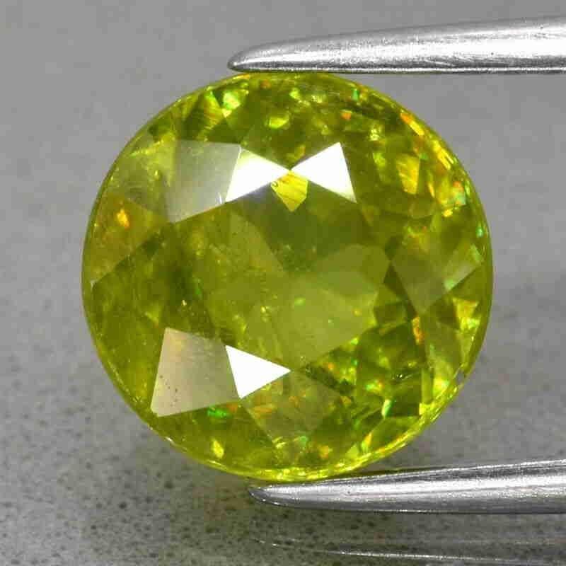 3.28ct 8.6mm Round Natural Yellowish Green