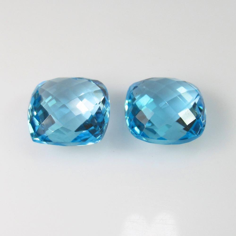23.38 Ct Natural Blue Topaz Cushion Pair