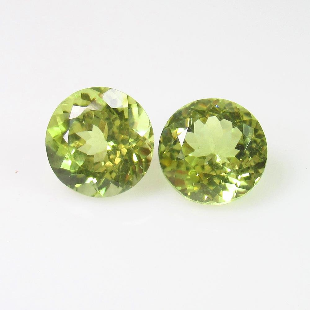 8.78 Ct Natural Lime Green Sillimanite Round Pair