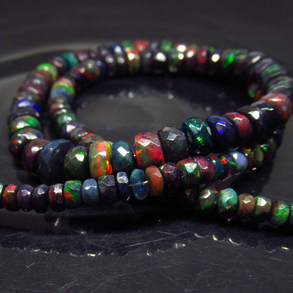70.12 Ct 925 Silver 128 Black Fire Opal Beads Necklace