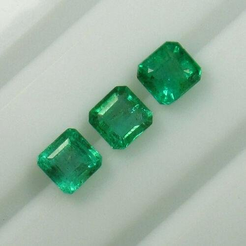2.76 Ct Natural 3 Zambian Emerald Octagon Set