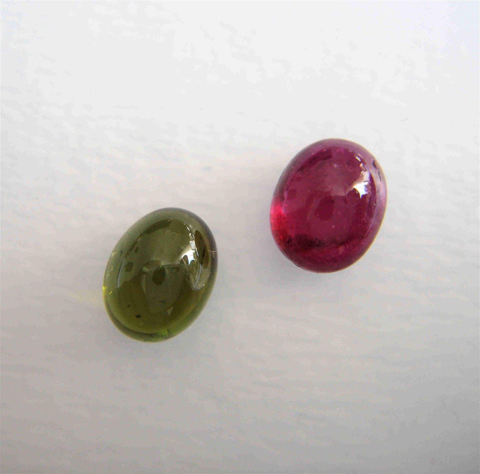 Pink Green Tourmaline Pair - 6.10 ct