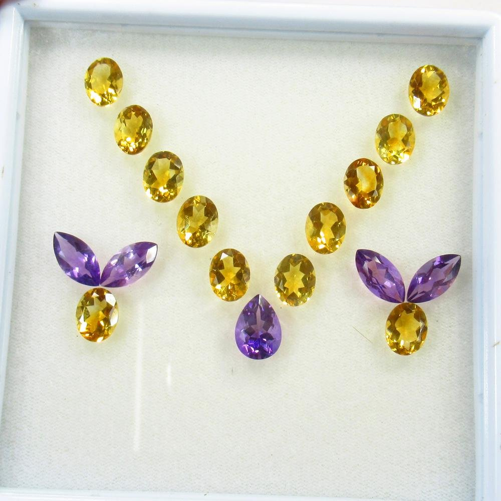 28.97 Ct Natural 17 Citrine&Amethyst Matching Jewellery