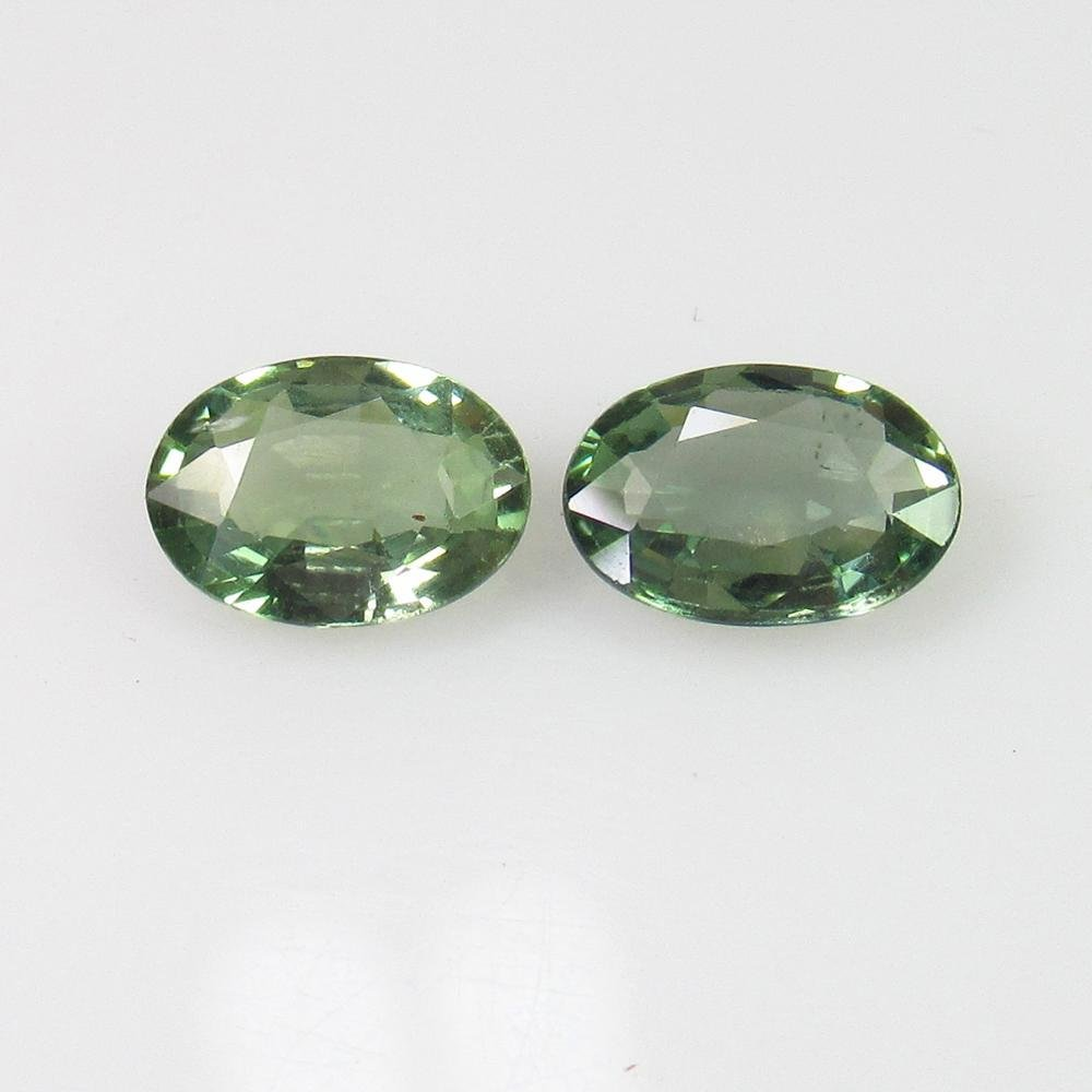 1.55 Ct Natural Ceylon Green Sapphire Oval Pair