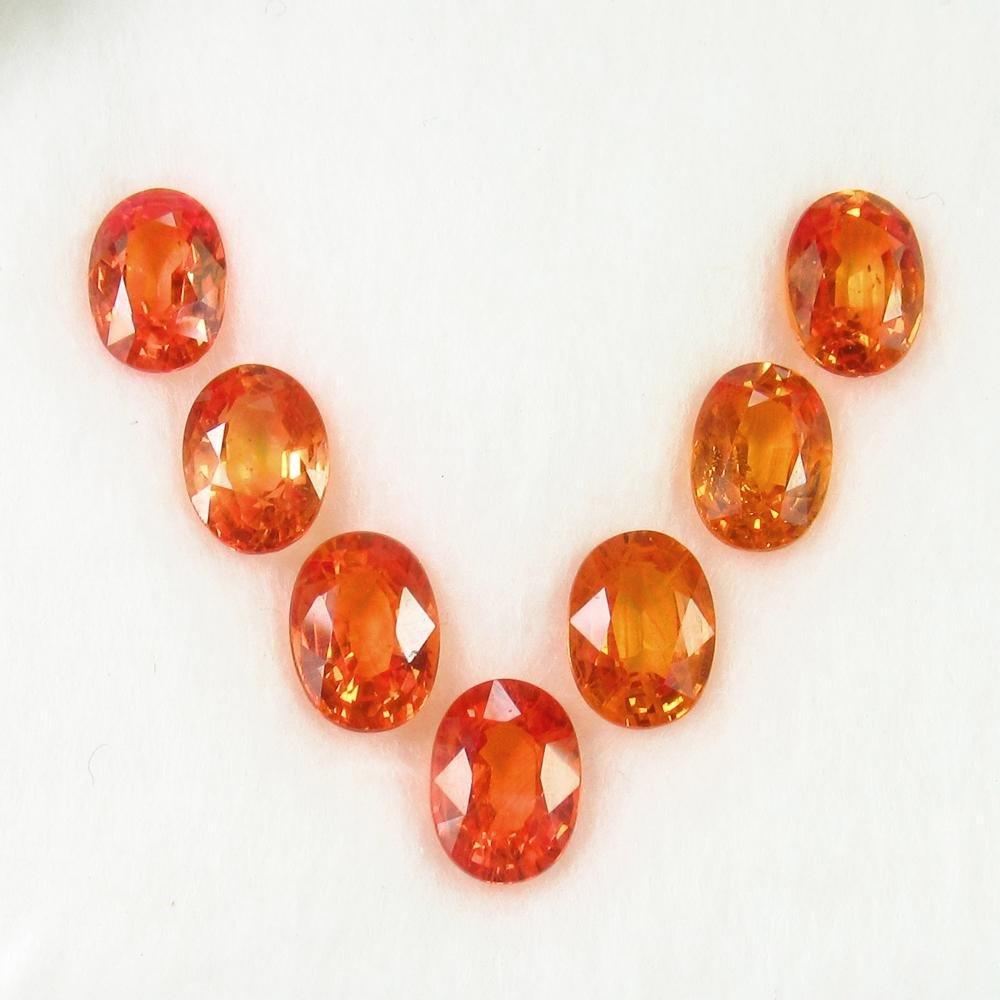 7.79 Ct Natural 7 Orange Sapphire Oval Necklace Set
