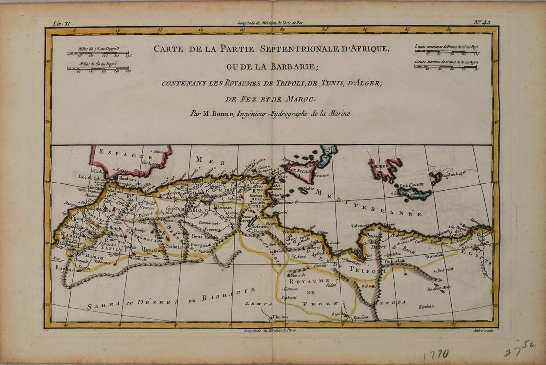 1770 Bonne Map of Northern Africa -- Carte De La Partie