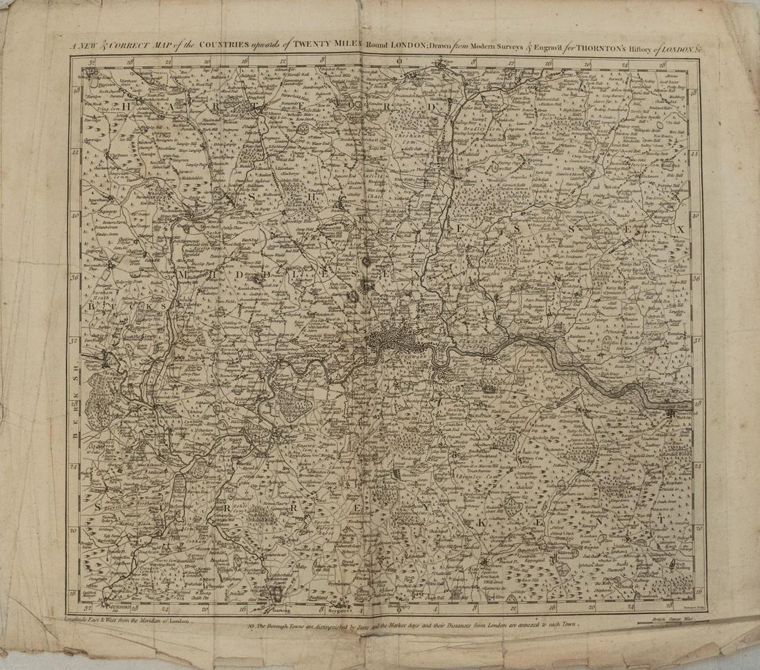 1784 Bowen Map of Greater London -- A New & Correct Map