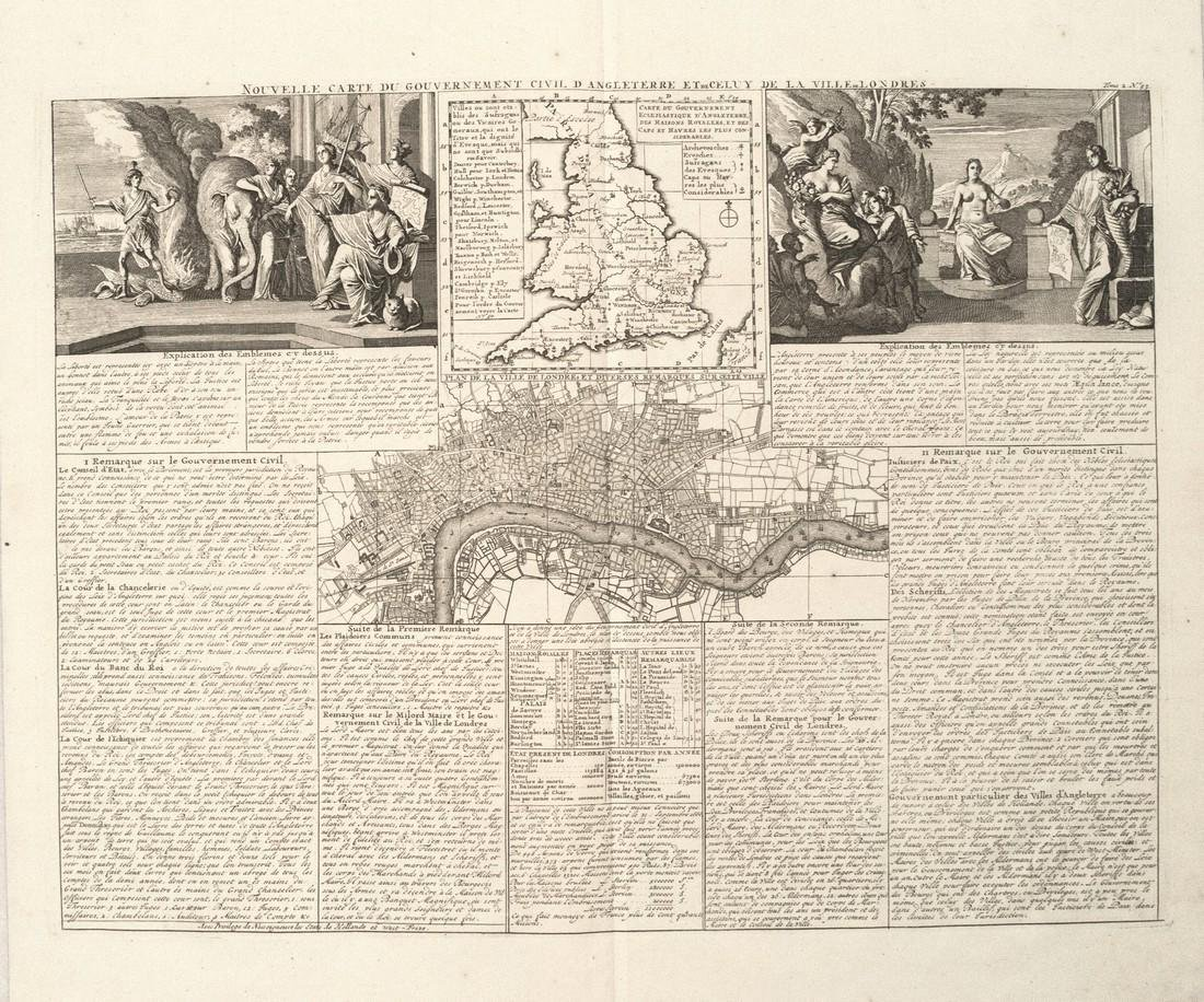 1708 Chatelain Map of England and London -- Nouvelle