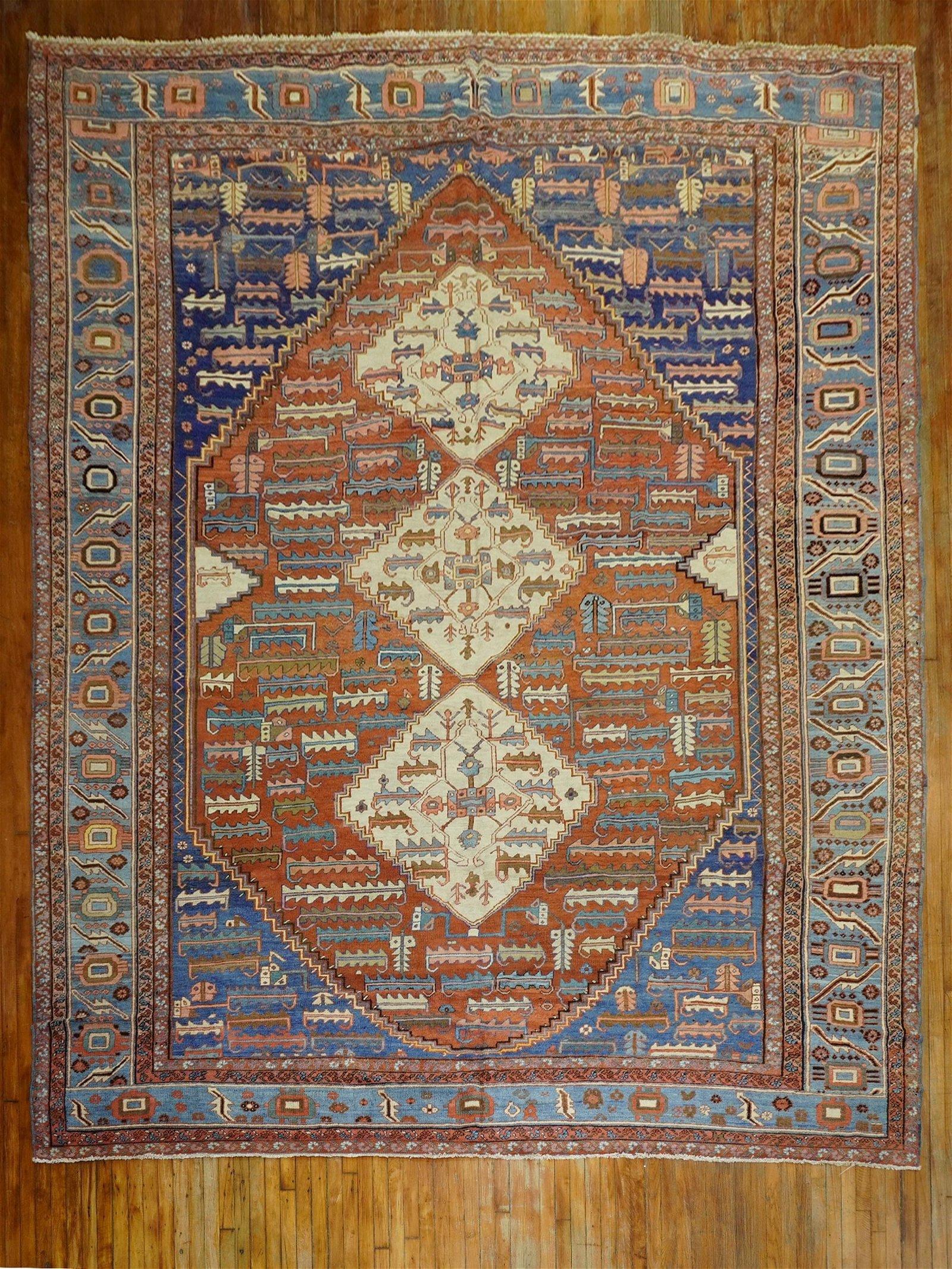 Rustic Persian Bakshaish Tribal Rug
