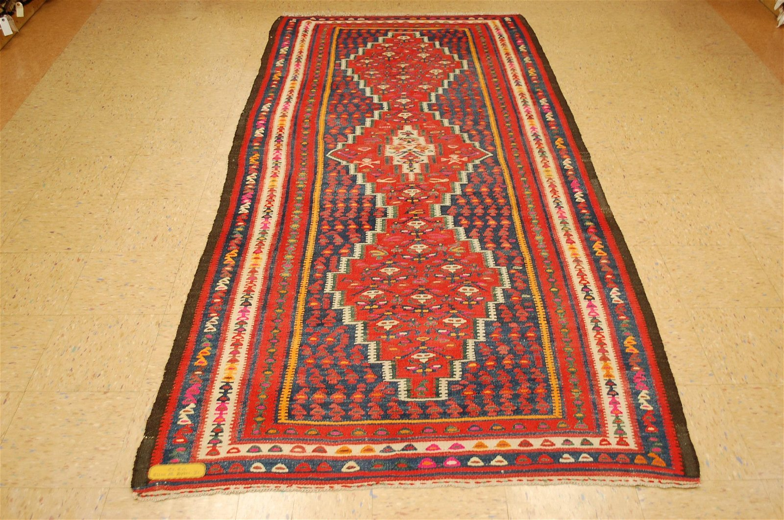 Circa 1910s ANTIQUE CAUCASIAN KILIM 4.6x9.7 ESTATE