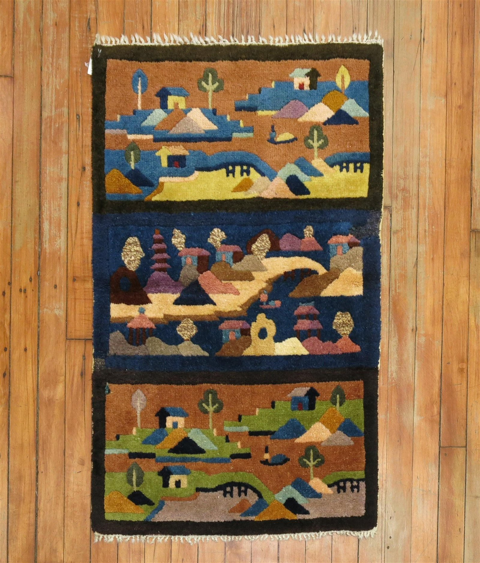 Chinese Art Deco Scenery Mat Rug