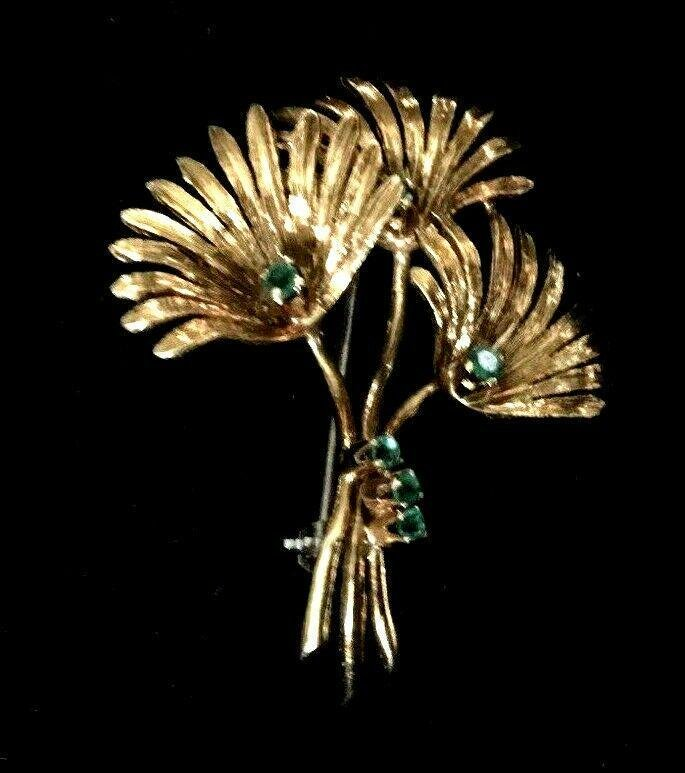 18K Gold Brooch with Green Stones Italy