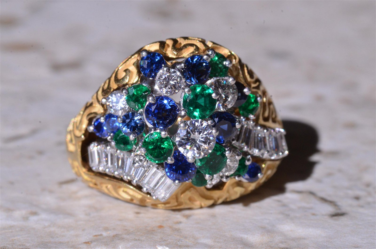 Platinum Ring Sapphire, Emerald, & Diamond Ring with