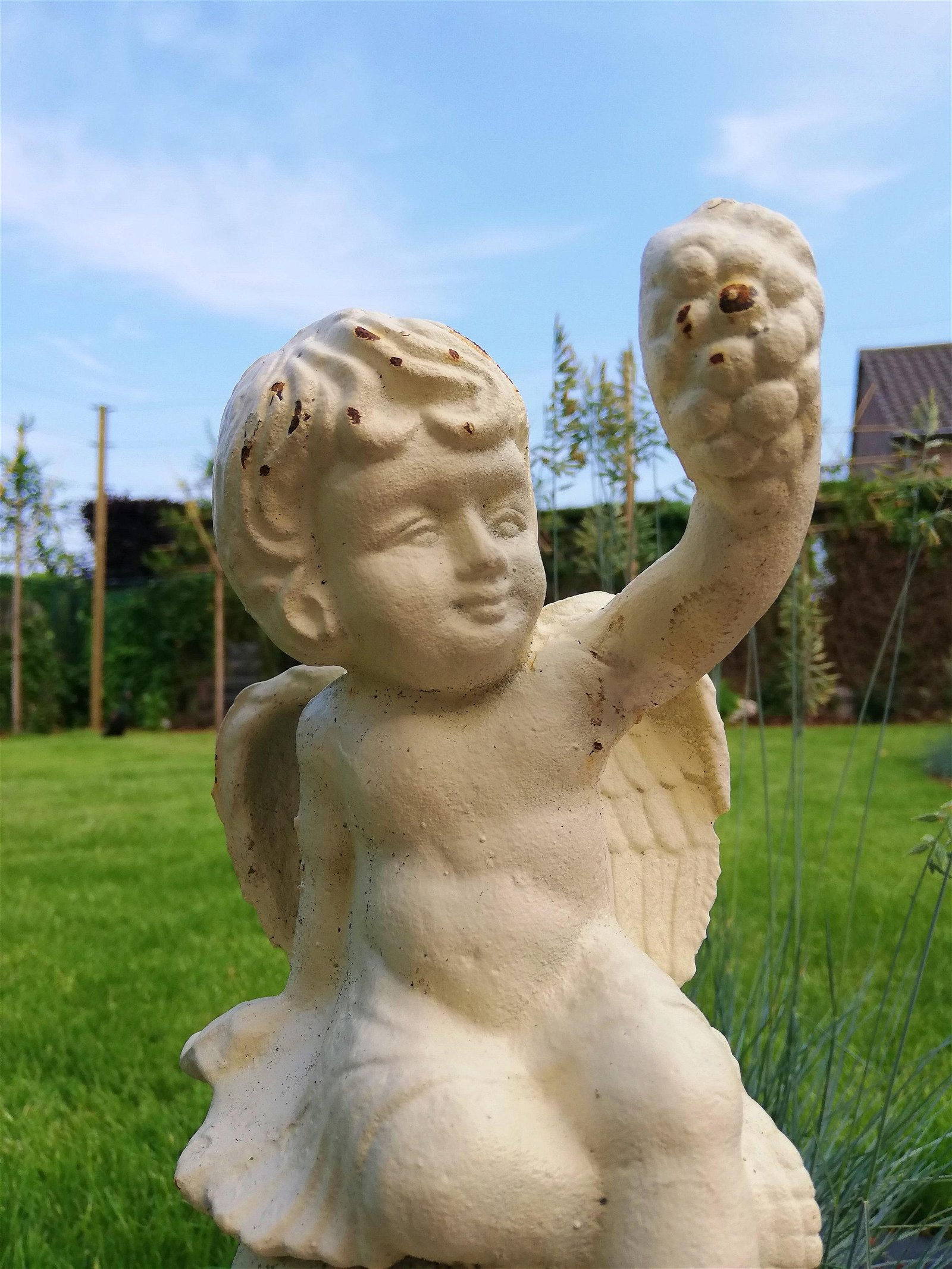 A vintage Cast iron Angel sculpture - Putto sculpture