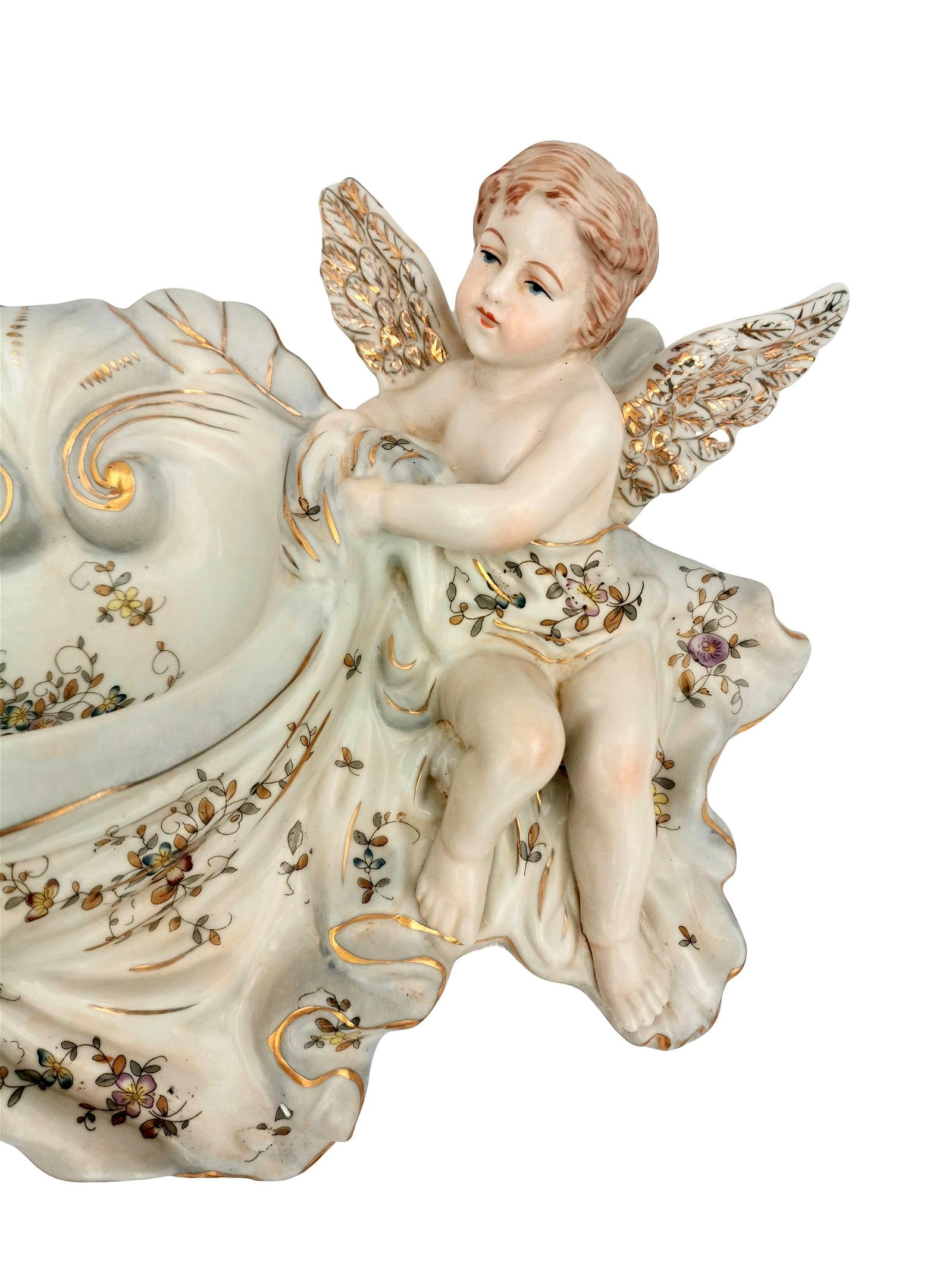 Beautiful porcelain holy water font flanked by 2