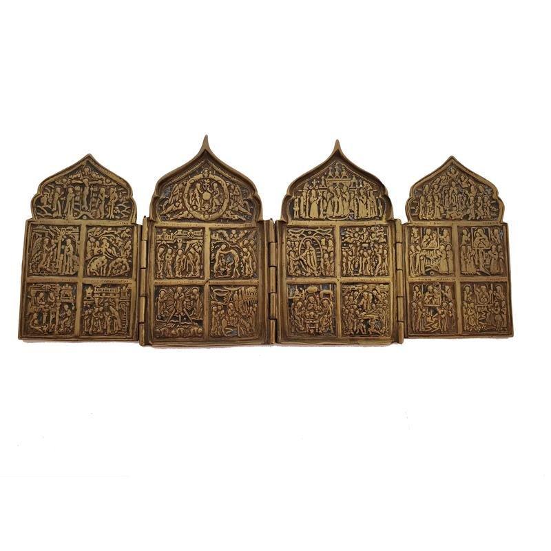 Antique Russian Bronze 4-Panel Folding Travel Icon
