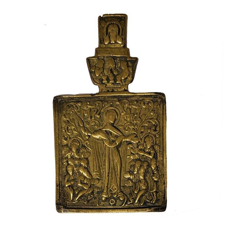 "Rare 18-19th Century Russian Bronze Icon Mary""Joy Of"