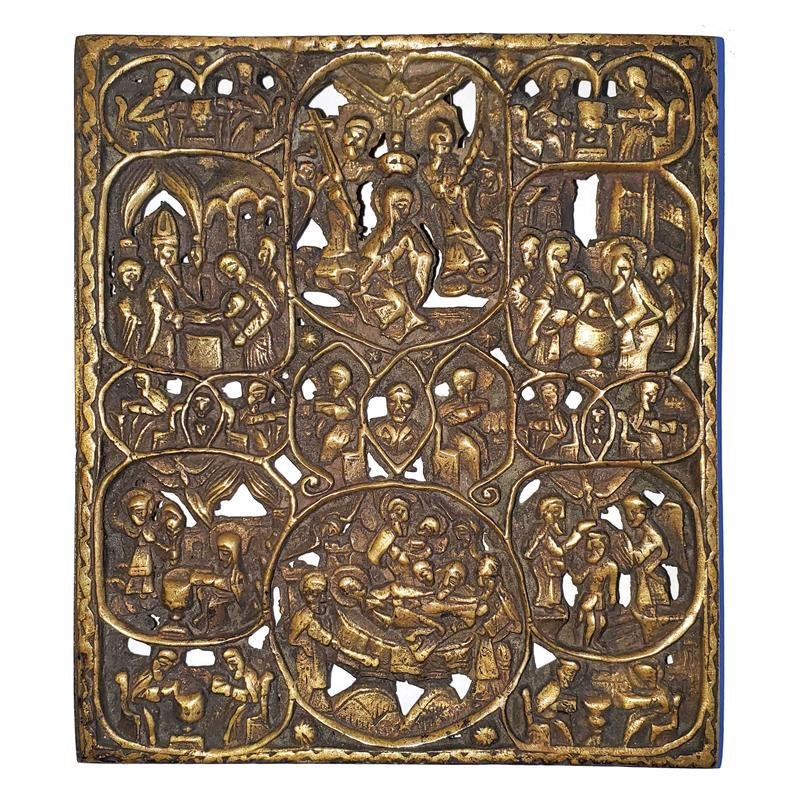 """Antique Russian Bronze Icon""""Life of Mother Of God"""""""