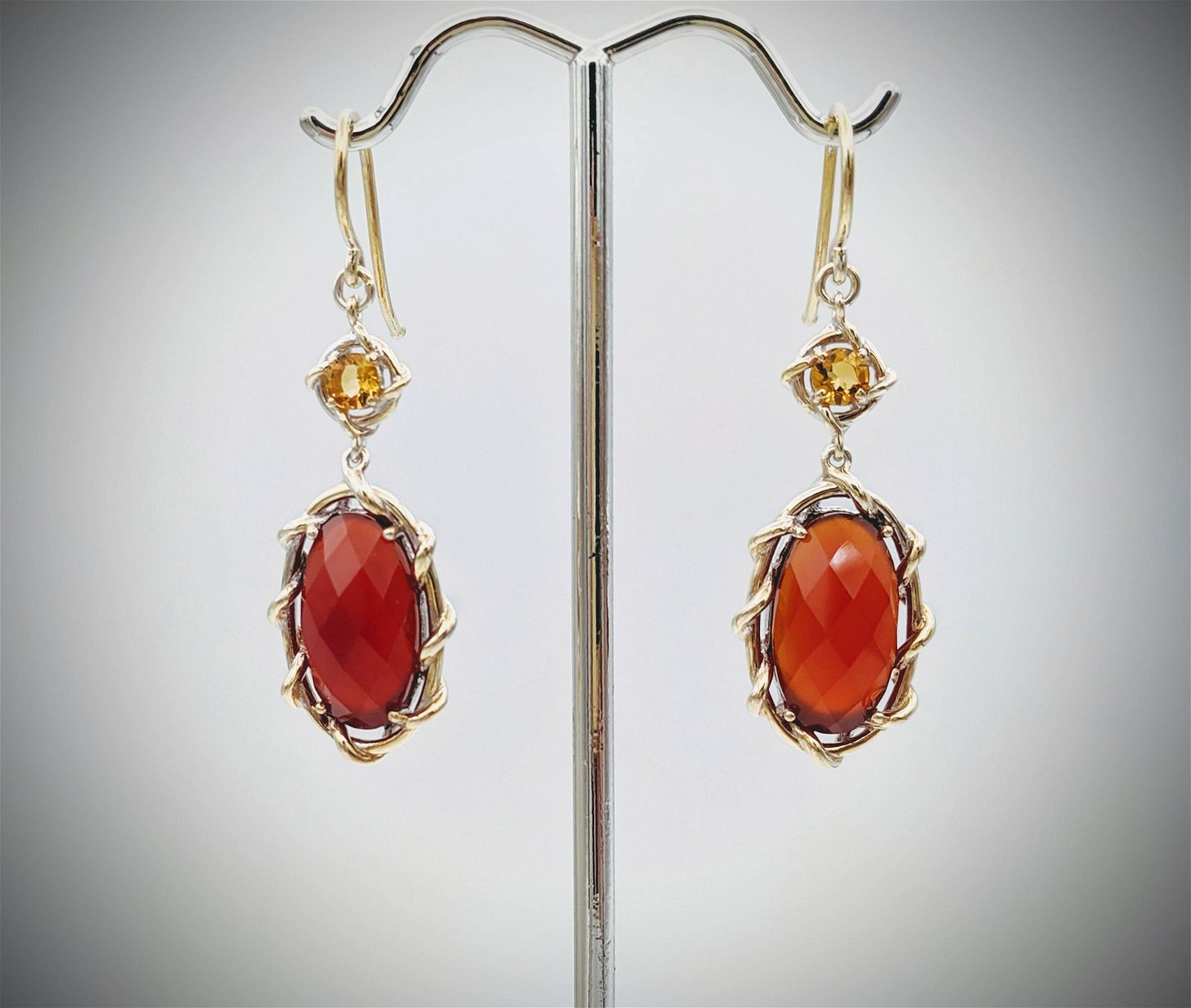 925 SS w Brushed Gold Plating Carnelian & Citrine