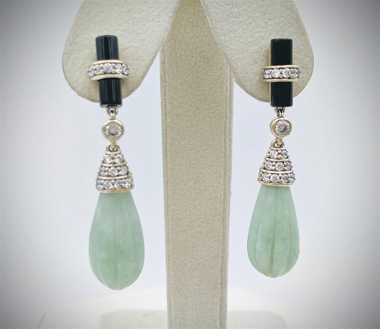 Cocktail Earrings w Jade, Black Faceted Stones & CZs