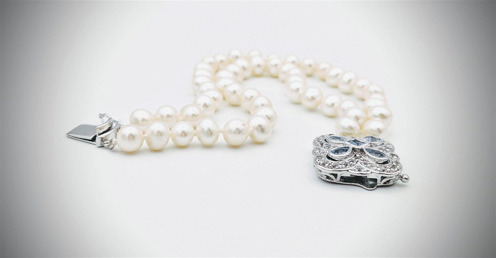 Double Stranded Pearl Bracelet w Aquamarine & CZ Clasp