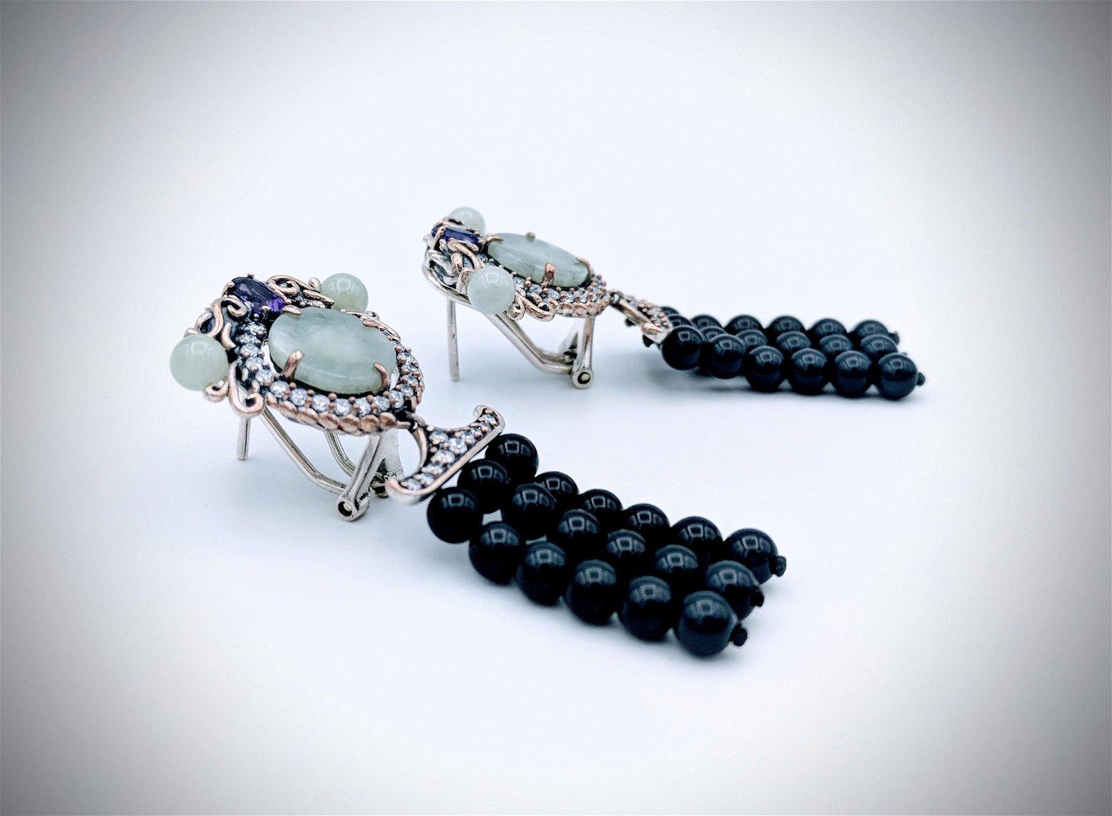 Dragon Earrings w Jade, Amethyst, Black Faceted Beads,