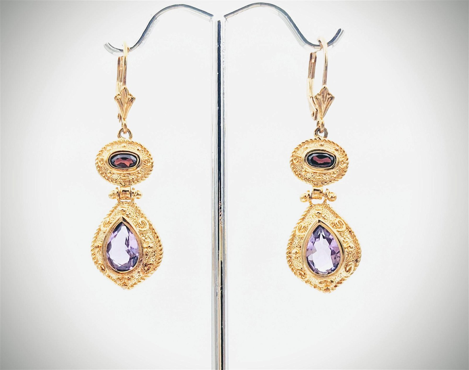 Garnet & Amethyst Earrings
