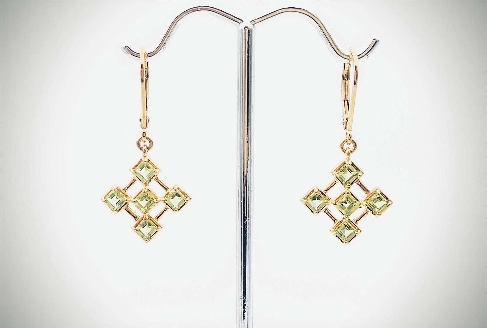 Gold Plated Dangly Peridot Earrings