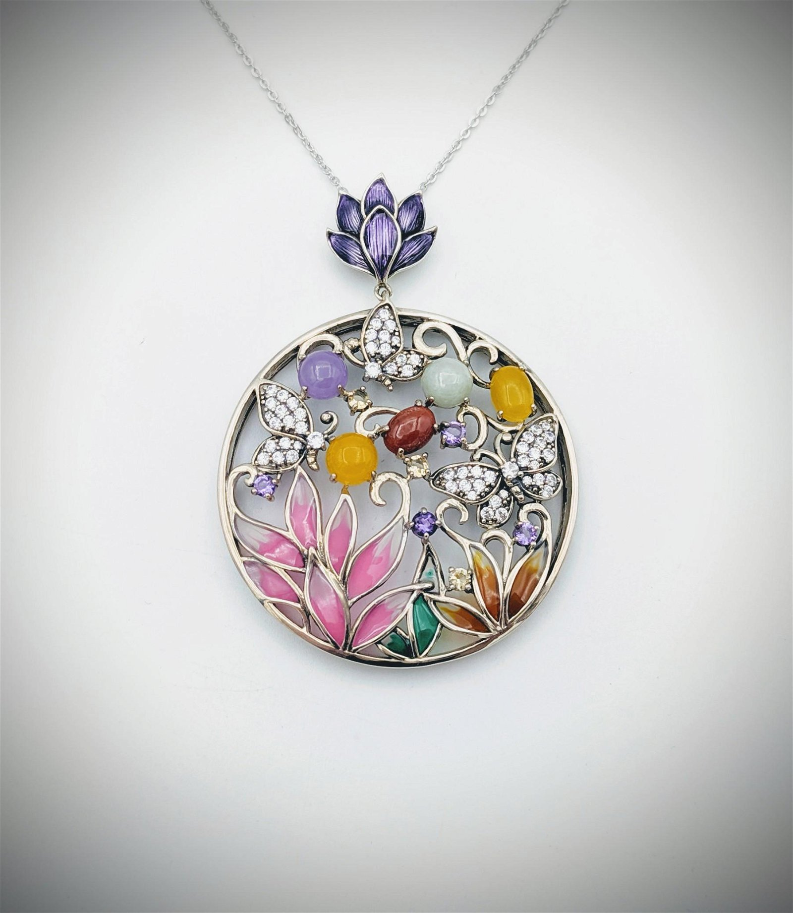 Necklace & Butterfly Pendant w Multicolored Enamaling,