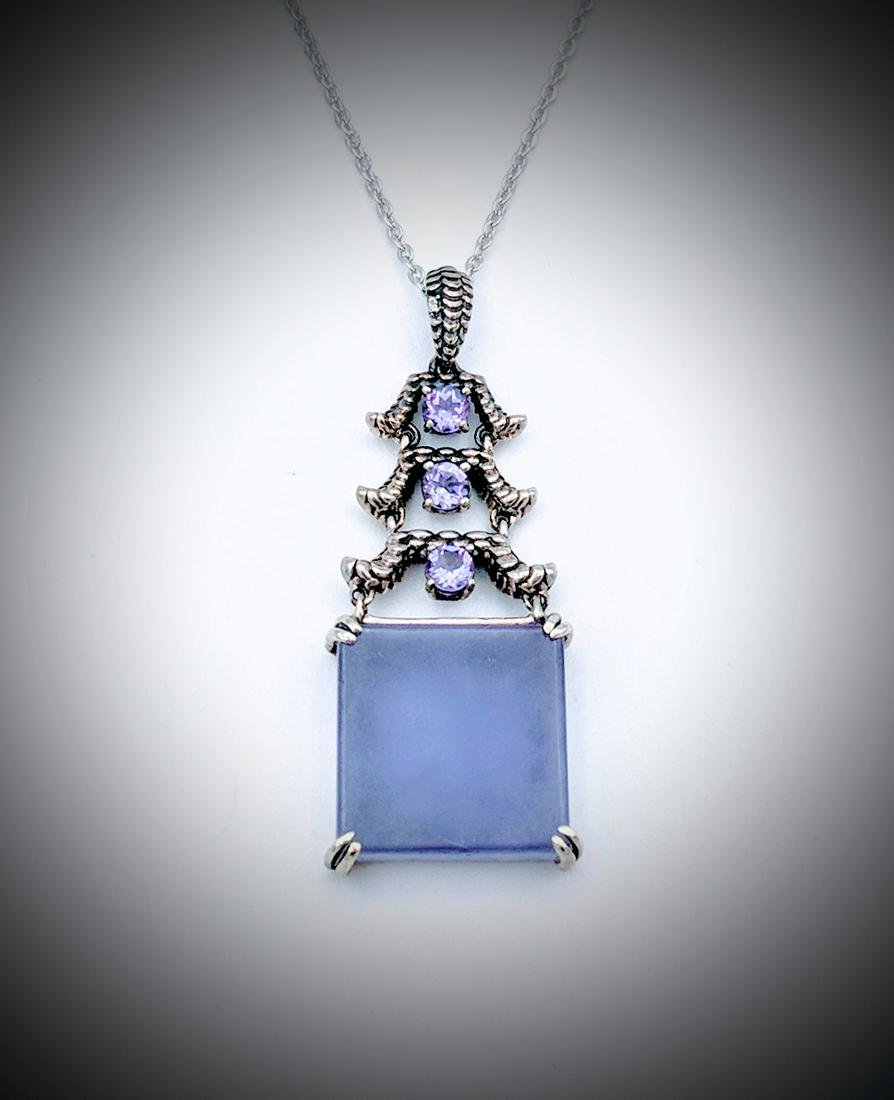 Sterling Silver Necklace w Violet Jade and Amethyst