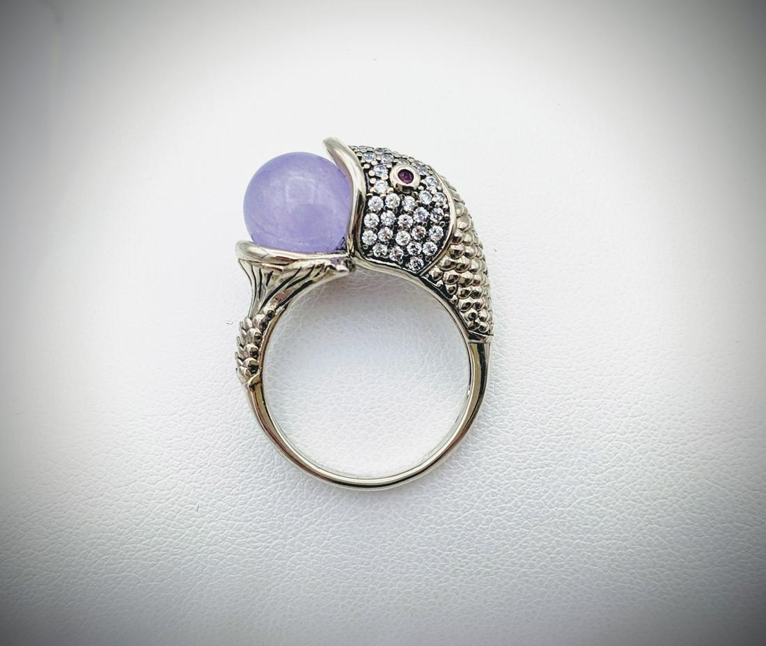 Sterling Silver Sz 7 Koi Fish Ring w Violet Jade, Ruby