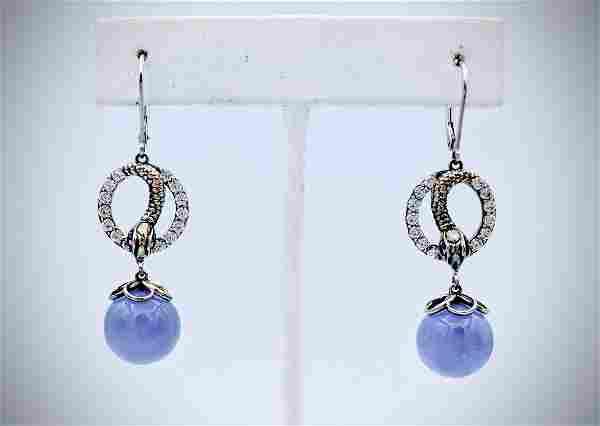 Violet Jade Drop Snake Earrings w Pink Amethyst and CZs