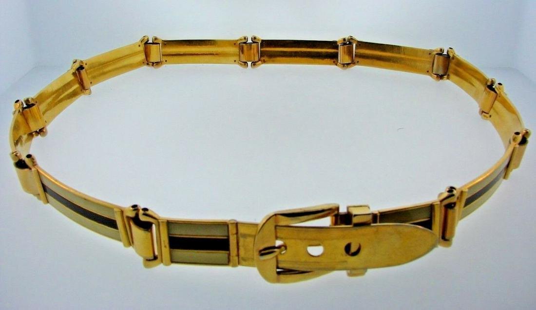 GROOVY Gucci Gold Plated & Enamel Belt Circa 1970s