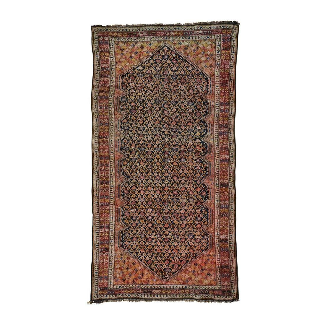 Gallery Size Antique Russian Hand Knotted Oriental Rug