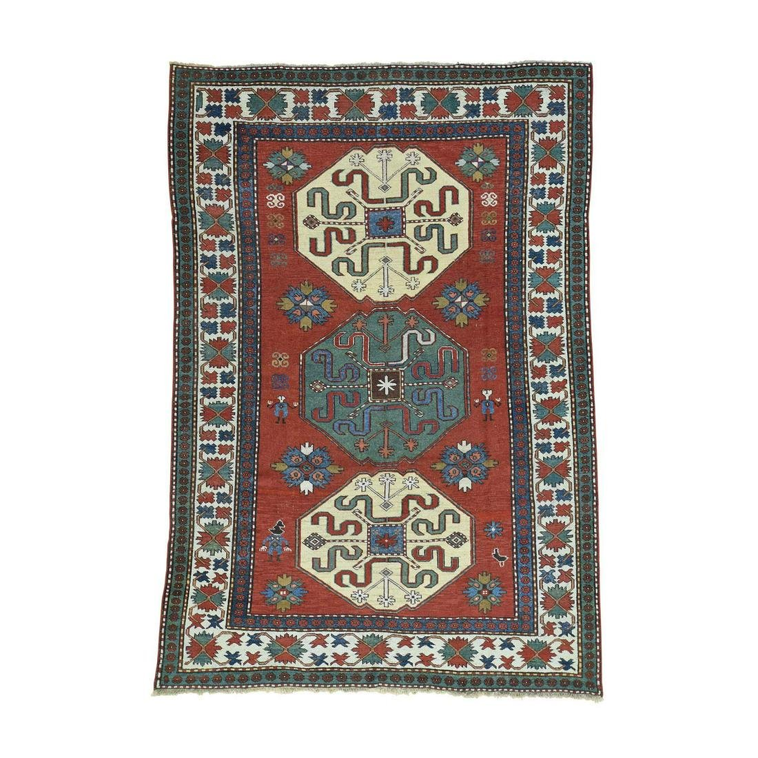 Antique Kazak Exc Cond 100 Percent Wool Oriental Rug