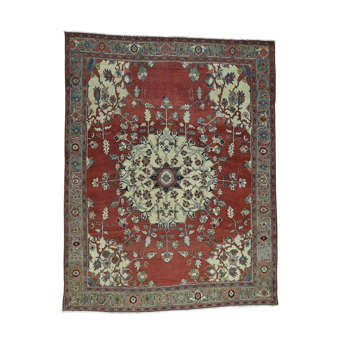 Hand-Knotted Antique Persian Serapi Open Field Oriental
