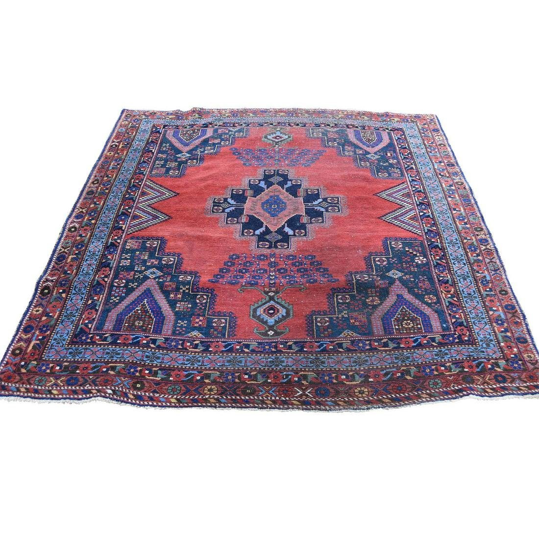 Red Antique Persian Afshar Worn Pure Wool Hand-Knotted