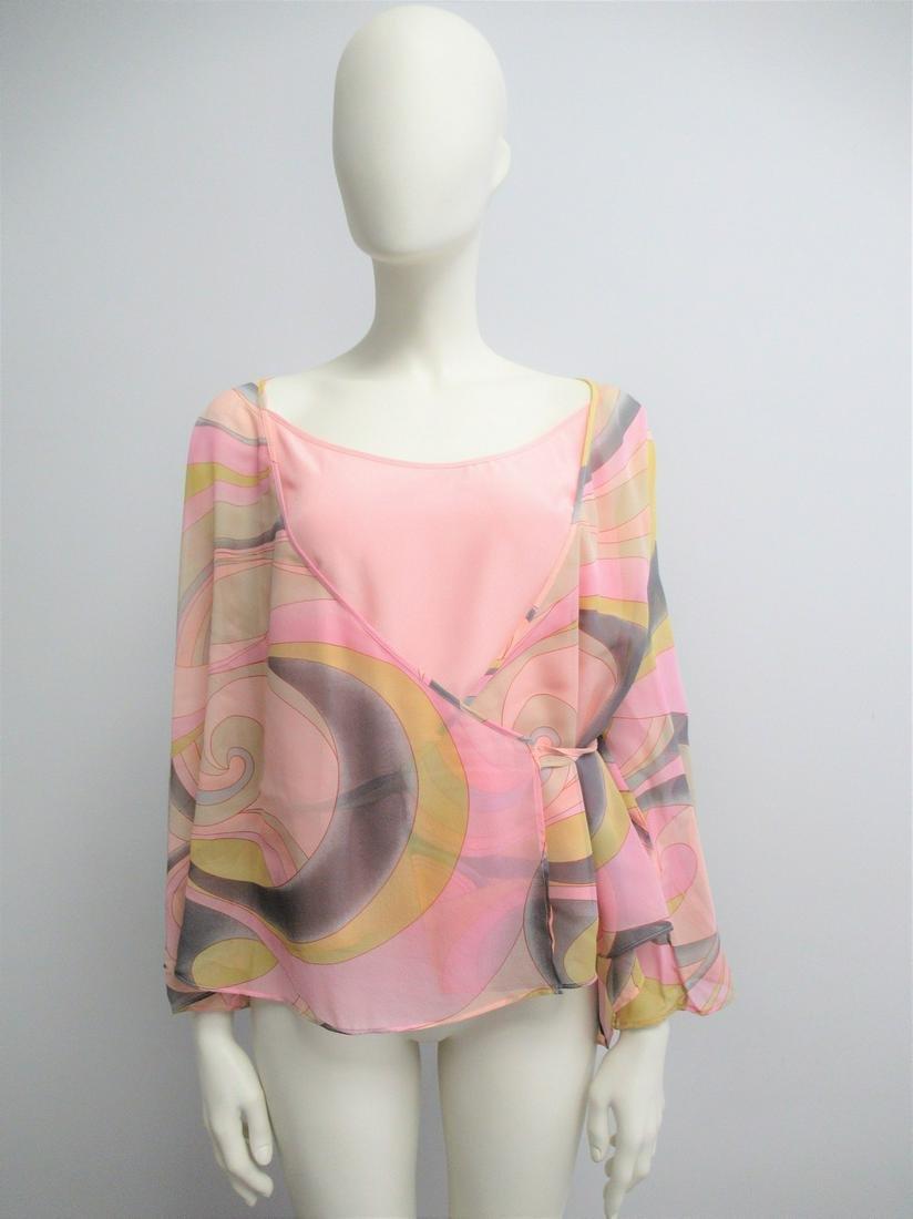 """""""Marina Rinaldi"""" Twin Set in pink silk Size L"""