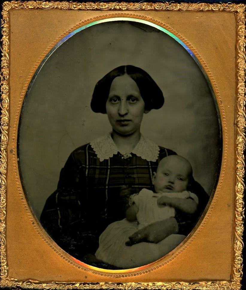 Mother and Baby Sixth Plate Daguerreotype