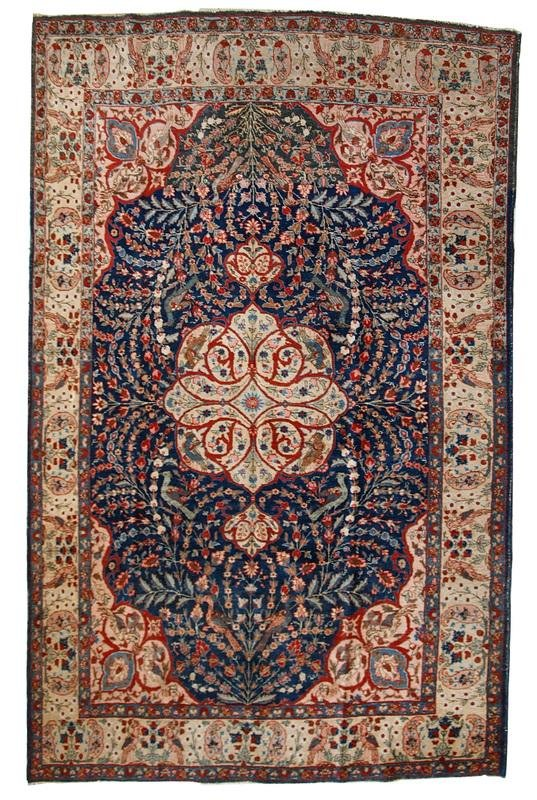 Handmade antique Persian Tabriz rug 6,2' x 9.5' (190cm