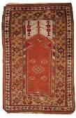 Handmade antique prayer Turkish Melas rug 4' x 6.3' (